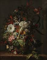 Rachel Ruysch~Still Life of Exotic Flowers on a Ma