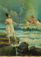 Raja Ravi Varma~Rama vanquishes the Sea (Ram sagar
