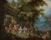 Roelant Savery~Peasants Dancing outside a Bohemian