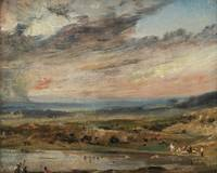 John Constable~Hampstead Heath with ponds and bath