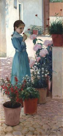 Santiago Rusiñol~The girl with carnation (Teresa M