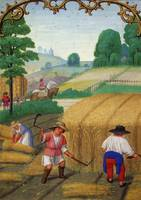 Simon Bening~August Mowing Wheat, Binding Sheaves