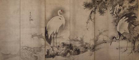 Soga Shōhaku~Folding Screen with Design of Cranes