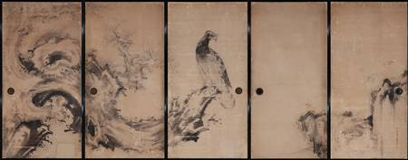 Soga Shōhaku~Hawk and Pine Tree (Formerly on the s