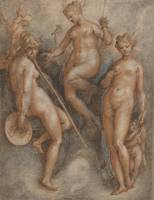 Stradanus~Three Goddesses Minerva, Juno and Venus