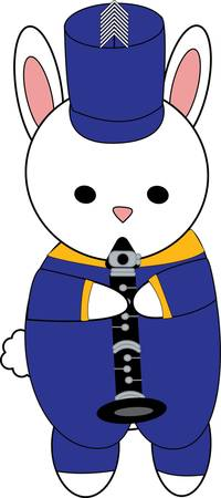 Bunny Rabbit Marching Band Clarinet Blue Yellow