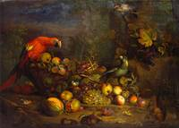 Tobias Stranover~Parrots and Fruit with Other Bird