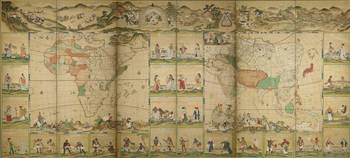 Unknown Japanese Painter~Continental Map with Scen