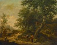 Unknown~Landscape with Cottage and Travelers