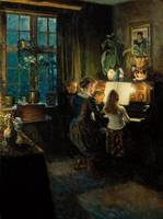 Viggo Johansen~By the piano. The artist's wife and