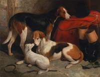 William Ballard~A Couple of Foxhounds with a Terri