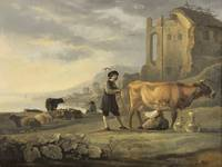 Aelbert Cuyp~Landscape with Maid Milking a Cow