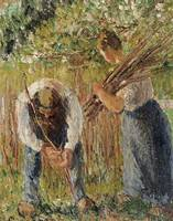 Camille Pissarro~Farm Labourers Planting Stakes