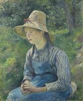 Camille Pissarro~Peasant Girl with a Straw Hat