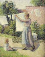 Camille Pissarro~Woman Hanging up the Washing
