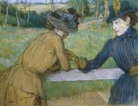 Edgar Degas~Two Women Leaning on a Fence Rail