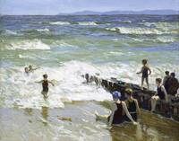 Edward Henry Potthast~Bathers at Breakwater