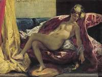 Eugène Delacroix~Reclining Odalisque or, Woman wit