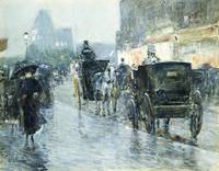 Frederick Childe Hassam~Horse Drawn Cabs at Evenin