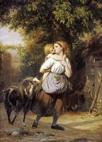 Fritz Zuber-Bühler~A Mother and Child With a Goat