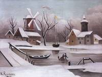 Henri Rousseau~Ice Skaters on a Frozen Pond
