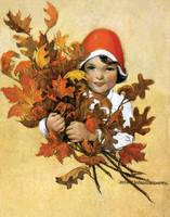 Jessie Willcox Smith~Girl with fall leaves