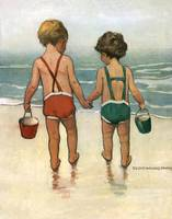 Jessie Willcox Smith~Hand in hand on the beach