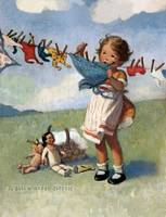 Jessie Willcox Smith~Hanging Doll Clothes on a Win