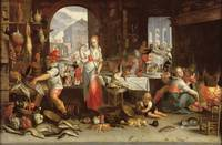 Joachim Wtewael~Kitchen Scene with the Parable of