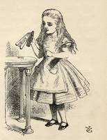 John Tenniel~Alice peering at the Drink Me bottle,