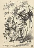 John Tenniel~Alice with flamingo chats with the Du