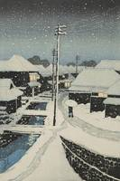 Kawase Hasui~Evening Snow at Terashima Village (Yu