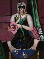 Max Beckmann~Carnival Mask, Green, Violet, and Pin