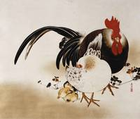 Shibata Zeshin~Cockerel, Hen and Chicks