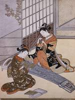 Suzuki Harunobu~Playing the Koto
