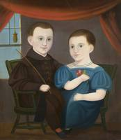 Unknown~American Naive Portrait of a Boy and a Gir