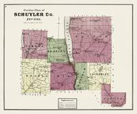 Schuyler County 1874 Restored Historic Map