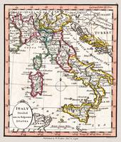 Italy Showing Political Divisions in 1798 Map