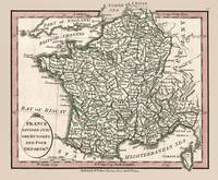 France and 104 Departments 1804 Map