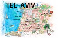 Tel Aviv Israel Illustrated Map with Roads Landmar