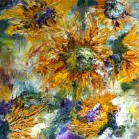 Modern Impressionism Sunflowers Oil Painting Art Prints & Posters by Ginette Callaway