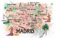 Madrid Spain Illustrated Travel Map with Roads Lan