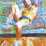 The Blue Sofa Sexy Man Reclining by RD Riccoboni
