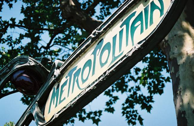 paris metro sign. Old Paris metro sign