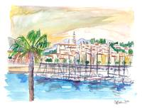Menton Provence France Harbour Scene with Waterfro