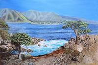 Landscape Painting Cypress Tree at Pebble Beach