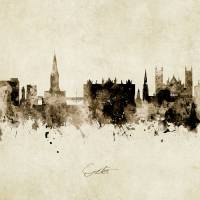 Exeter England Skyline Art Prints & Posters by Michael Tompsett