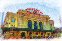Denver Union Station Sketched by Kirt Tisdale