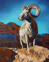Original oil painting Bighorn sheep/Ram