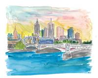Melbourne Australia Skyline with Yarra River At Su